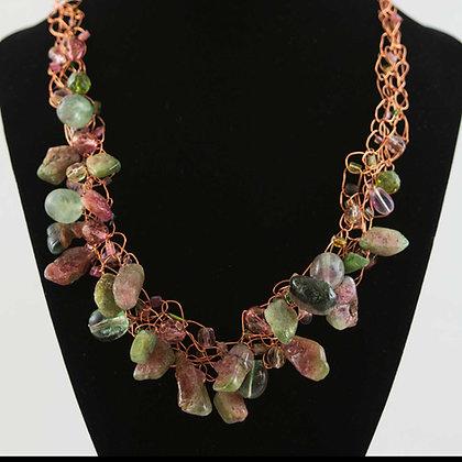 Watermelon Tourmaline Stone and Copper Necklace