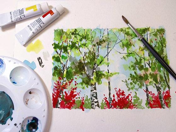 Watercolor Birch Tree Class Kit
