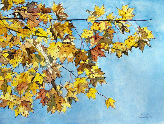 Yellow Leaves in November, Original Watercolor