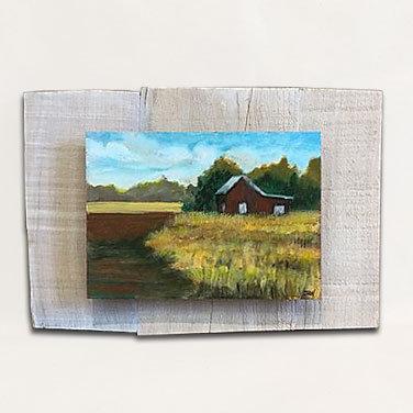 Red Barn and Field, original acrylic