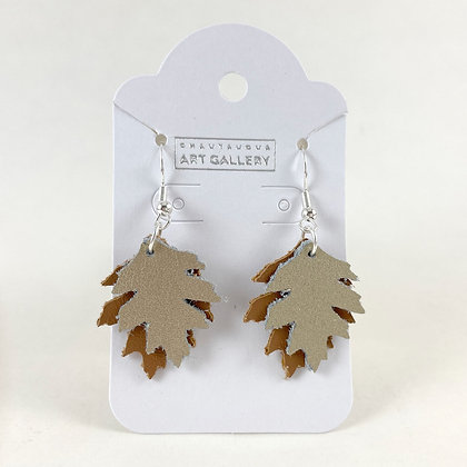 Oak Leaf Leather Earrings, Small
