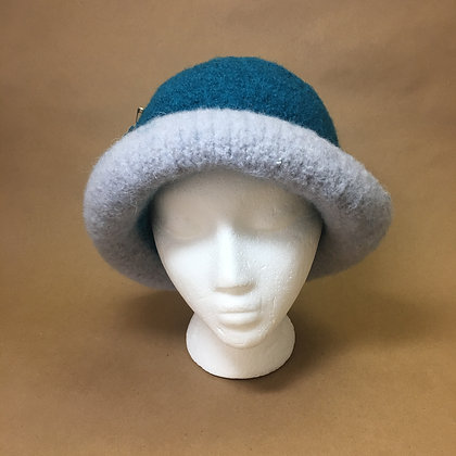 Felted Hat, blue and gray