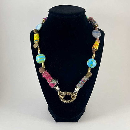 Bead and cloth necklace
