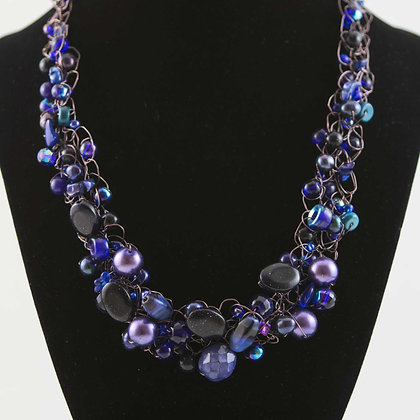 Purple Glass Bead and Copper Necklace