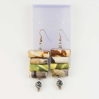 Hand dyed paper Earrings, colorful chandelier style