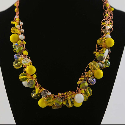 Yellow Glass Bead and Copper Necklace