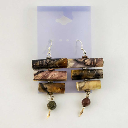 Hand dyed paper Earrings, chandelier style