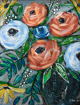 Floral Mixed Media Painting