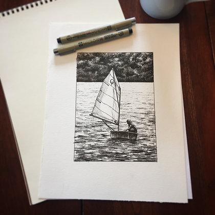 Pen & Ink Class Kit - Opti Sailboat on Chautauqua Lake