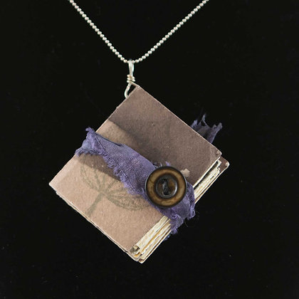 Necklace, hand dyed paper book