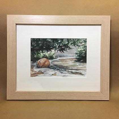 Chautauqua Gorge Red Rock, Original Watercolor
