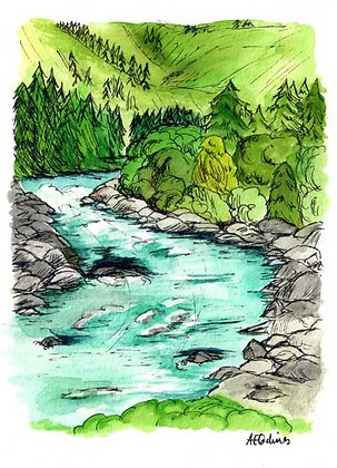River, 5x7 inch print series