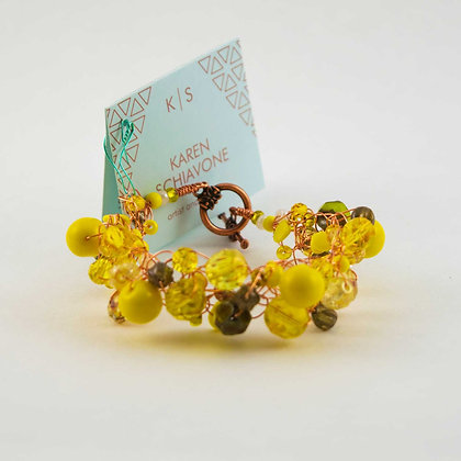 Yellow Glass Bead and Copper Bracelet