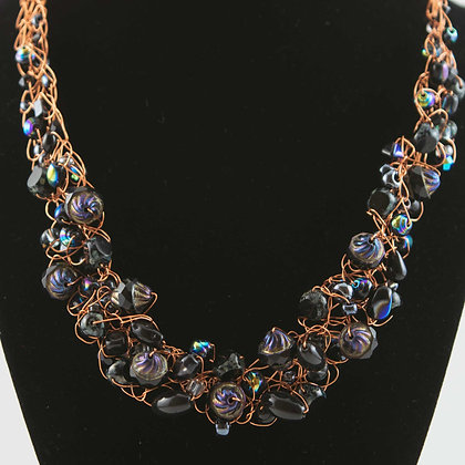 Blue & Purple Tone Glass and Copper Necklace