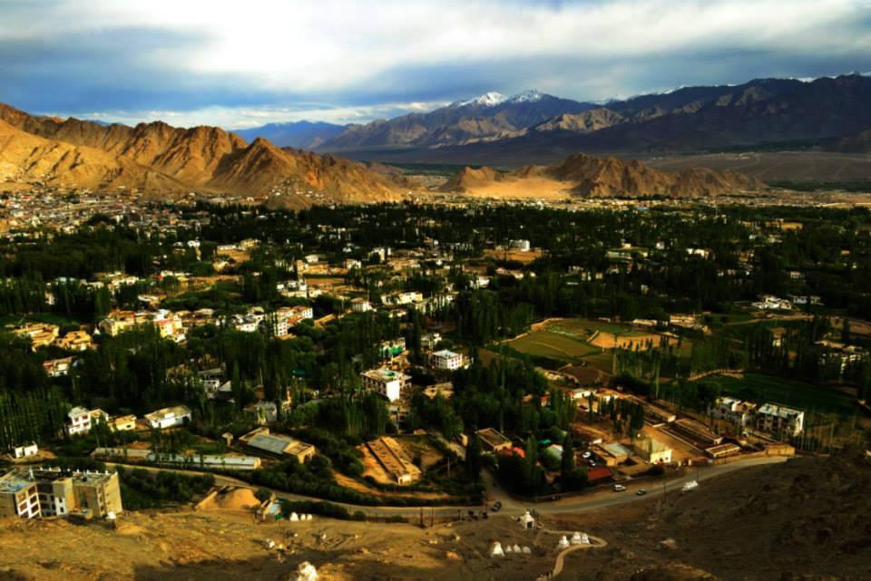 Leh town viewed from Shanti Stupa