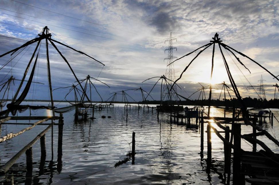 Filets de pêche chinois à Fort Kochi
