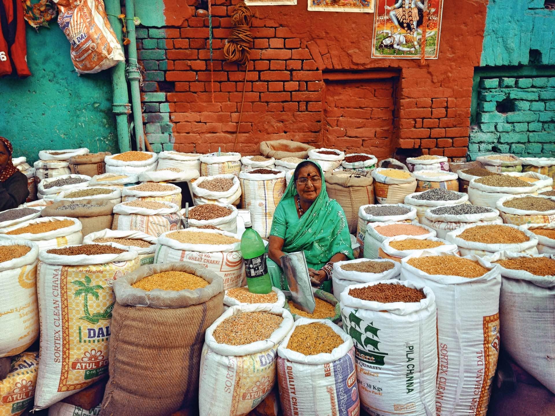 Marché aux épices à Delhi
