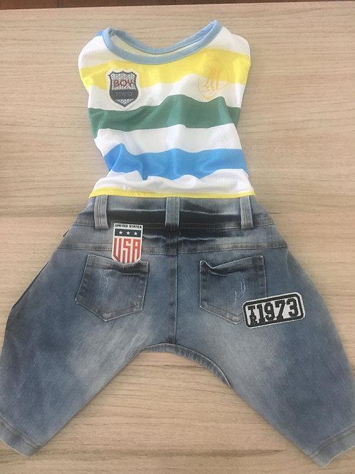 Macacão jeans com Camiseta Regata