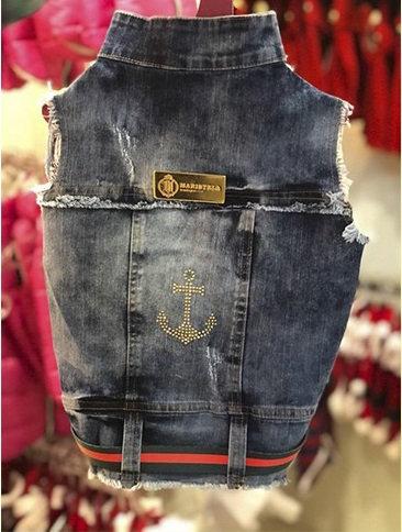 Colete Jeans Com Strass