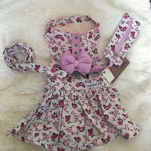 Vestido Floral Rosa Com Laço