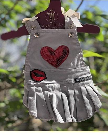 Jardineira Sarja Coração
