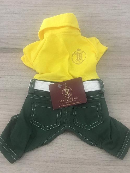 Macacão Jeans Verde Com Camisa Amarela