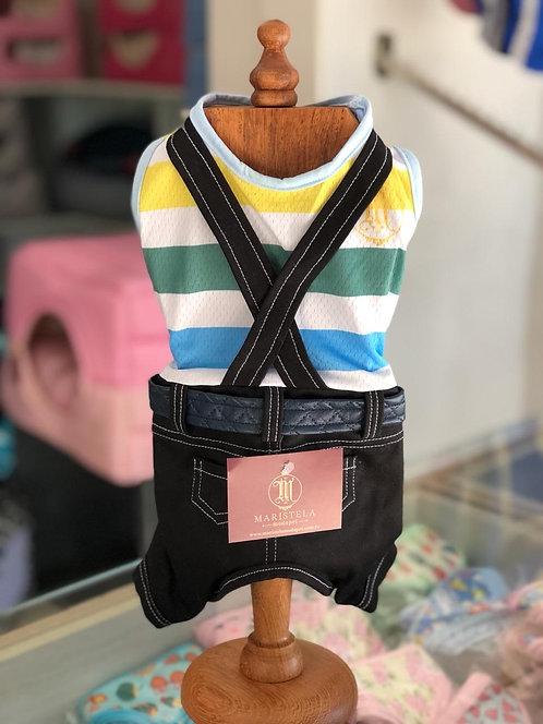 Macacão Jeans Com Suspensório