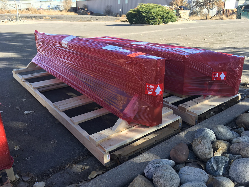 Warming Trends product packaged on a pallet ready to be shipped via freight