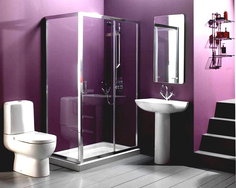 Purple Theme Toilet Design