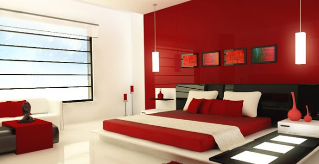 Red Theme Painting Bedroom