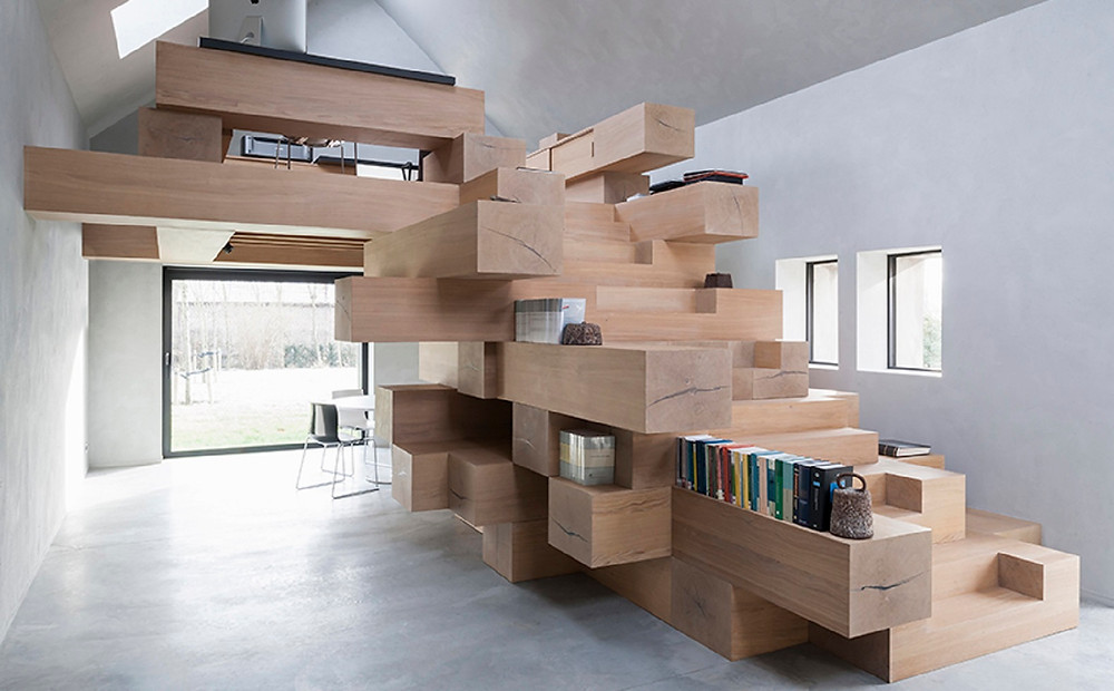 Stacked timber beams Multi-use office furniture Malaysia