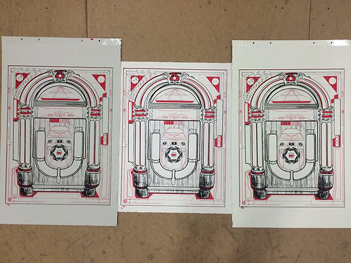 Cosmik Jukebox Original 5 Color Screen Print On Paper. Robert Asay