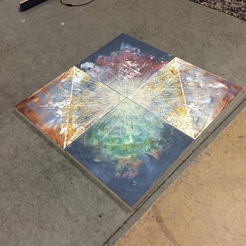 Original Quadrivium Painting. quadtrytc. Acrylic on cradled boards.