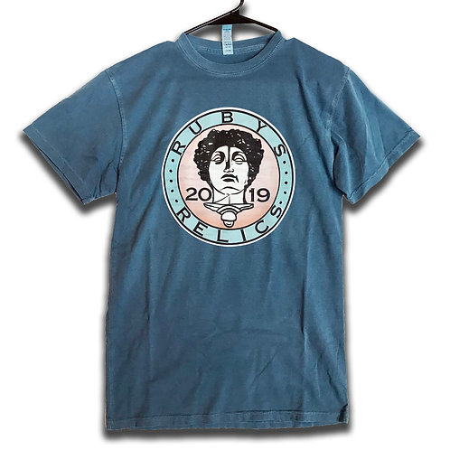 Soft Blue Tee Ruby's Relics Coin Size Small