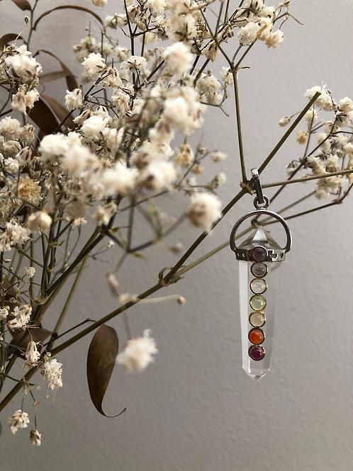 Quartz chakra necklace pendant