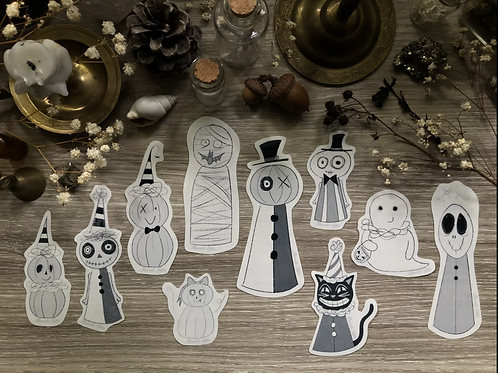 Stickers (Halloween party; all creepy characters) *shipping included*