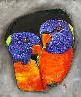 Marie Kennedy - Amigos para siempre. Two brightly coloured parrots