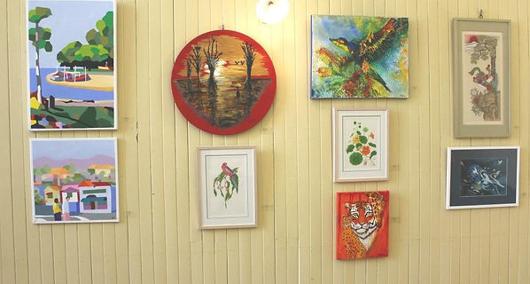 gallery wall with art works