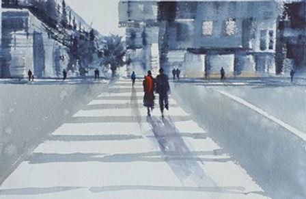 Guinevere McBride RedScarf.jpeg Winter street scene
