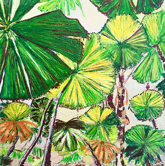 Gillian Fahey - Tropical Paradise. green and yellow palm leaves