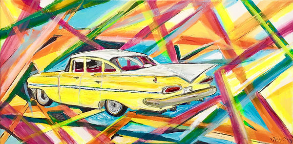 Gillian Fahey - Yellow Car.jpg Multi coloured angled lined background