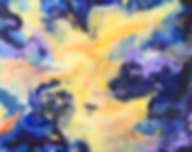 Cosmos in Guardian Angel mode by Andrea Moeser yellow and orange burst of colour over a blue and purple background