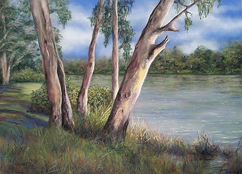 pastel painting of trees by a watercourse