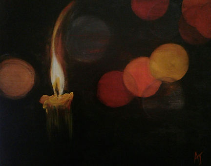 Amanda Wildie_Hope Eternal.jpg Candle fame right with fruit and dark background.