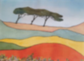 simplified landscape  with three trees inshades of orange and green