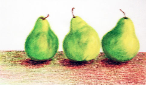 smlIAnnandaleJamesNo23prettypears.jgreen and yellow pears on a bench with red shadowpg
