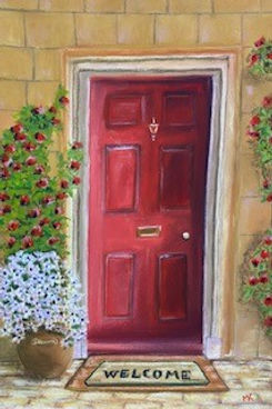 Marie Kennedy - RED DOOR.jpg red door, welcome may,sandstone house with flowers