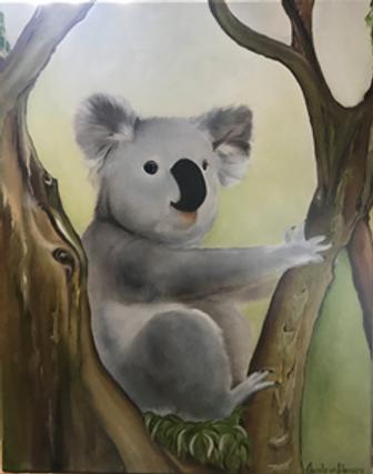 Charlene Harvey Koala for Leisha. Koala in the fork of a tree, pale background