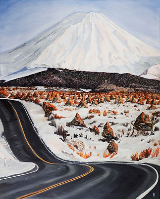 Ngaruahoe Chris Benesman. curved road leading to snow covered mountain