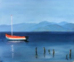 Ssan Butler calm and serene seascape with a boat